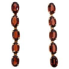 Royal Red Garnet and 14k Line Dangle Earrings