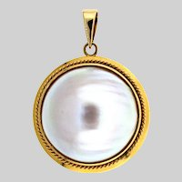 Bold Gold and Mabe Pearl Pendant