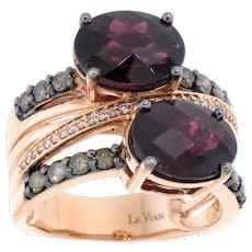 LeVian Raspberry Rhodolite Garnet, Chocolate Diamond and White Diamond Ring in 14 Karat Rose Gold