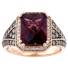 LeVian Garnet, White & Chocolate Diamond Ring in 14 Karat Rose Gold