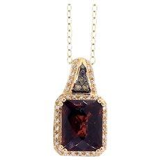 LeVian Garnet, White & Chocolate Diamond Necklace in 14 Karat Gold