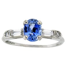 Lovely Sapphire, Diamond and Platinum Ring