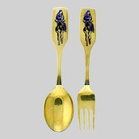 Michelsen Gilded Silver Christmas Spoon and Fork Collectible Set 1966