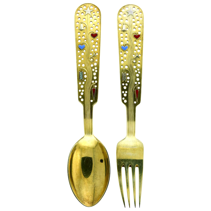 d52a5d19d Michelsen Gilded Silver Christmas Spoon and Fork Collectible Set 1939 :  Circa Vintage Jewelry | Ruby Lane