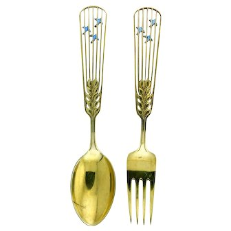 Michelsen Gilded Silver Christmas Spoon and Fork Collectible Set 1937