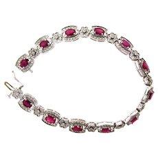 Lovely Ruby and Diamond Bracelet in 14 Karat White Gold