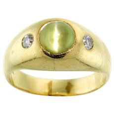 Mesmerizing Cat's Eye Chrysoberyl and Diamond Ring in 14 Karat Yellow Gold