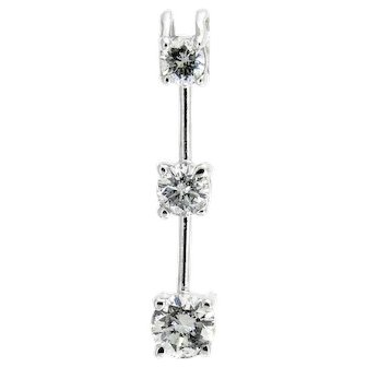 Classic Three Stone Diamond Pendant in 14 Karat White Gold