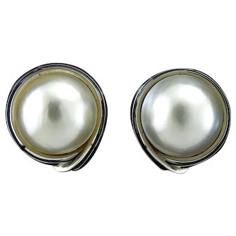 Lustrous Mabe Pearl Earrings