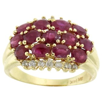 Vivid Ruby and Diamond Cluster Ring in 14 Karat Yellow Gold