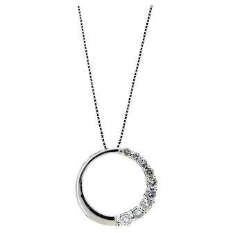 Charming Diamond Circle Pendant Necklace in 14 Karat White Gold