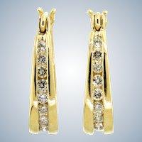 Timeless Diamond and 14 Karat Yellow Gold Hoop Earrings