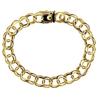 Classic Charm Link Bracelet in 14 Karat Yellow Gold