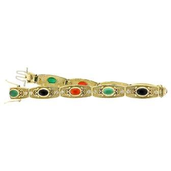 Stunning Multi-stone, Diamond and 14 Karat Yellow Gold Bracelet
