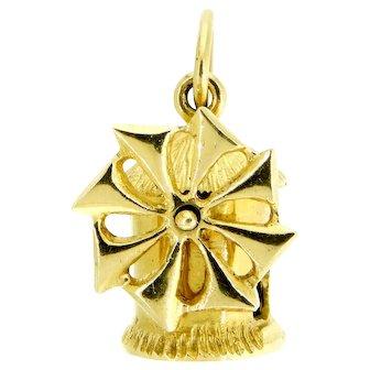Charming 18 Karat Gold Windmill Charm
