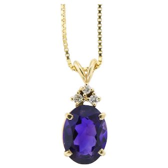 Classic Amethyst and Diamond Pendant Necklace