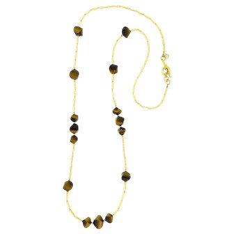 Captivating David Yurman Tiger Eye and 18 Karat Gold Necklace