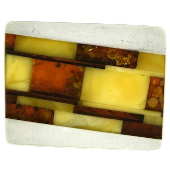 Artistic Amber and Silver Brooch