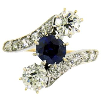 Beautiful Vintage Sapphire and Diamond Bypass Ring