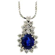 Dazzling Sapphire and Diamond Pendant Necklace