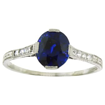 Incredible Vintage Tiffany & Co. Blue Sapphire and Diamond Ring
