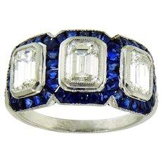 Captivating Emerald Cut Diamond and Sapphire Halo Ring