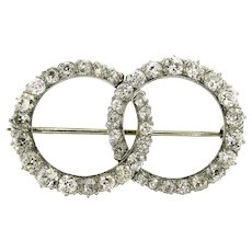 Dazzling Double Circle Diamond Brooch