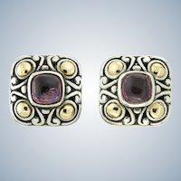 Samuel Benham Tourmaline, Silver and 18 Karat Earrings