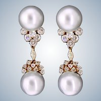 Stunning White South Sea Cultured Pearl and Diamond Cluster Earrings in 14K Yellow Gold