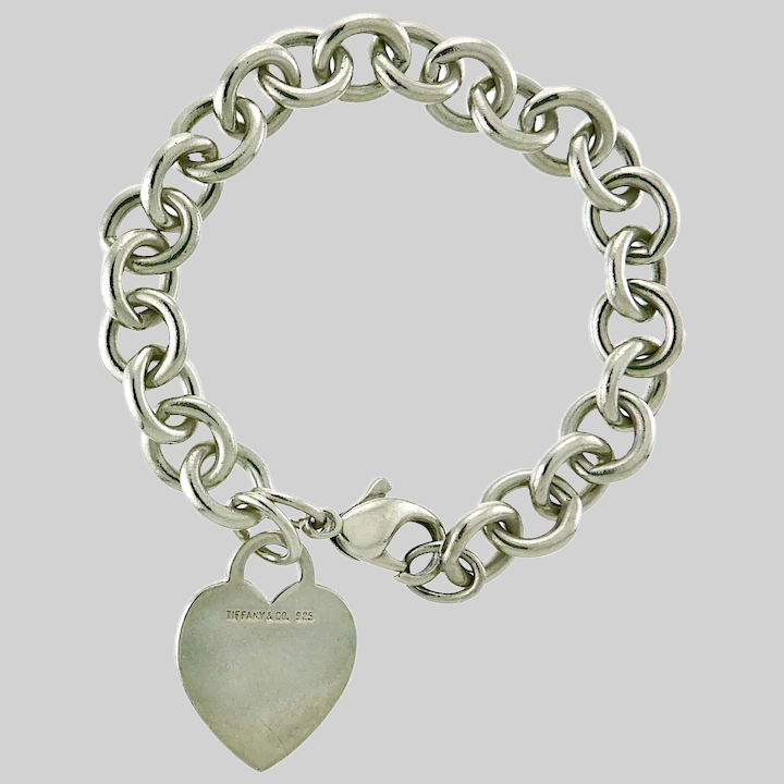 Tiffany Co Sterling Silver Bracelet With Heart Charm Circa Vintage Jewelry Ruby Lane