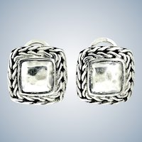 John Hardy Palu Collection 17 mm Square Hammered Dome Earrings – Sterling Silver