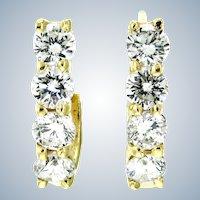 Linear 0.75 ct Diamond Half-Hoop Earrings in 14K Yellow Gold