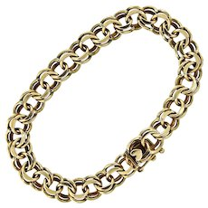 Double Link Charm Bracelet in 14K Gold with Heart Clasp