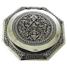 Classic Hexagonal Compact in Sterling Silver, with Mirror and Pads