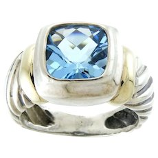 David Yurman Blue Topaz Albion® Ring in Sterling Silver with 14K Yellow Gold