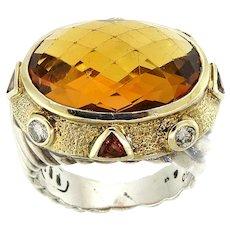 David Yurman Checkerboard Citrine Quartz & Diamond Ring in Sterling Silver with 18K Yellow Gold