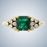 Vintage 1.01 carat Emerald & Diamond Ring in 14 karat