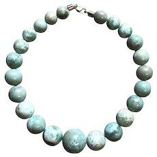 Luscious Larimar Bead Statement Necklace
