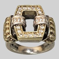 Regal Lagos Caviar 18k Gold and Sterling Ring with Diamonds