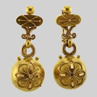 Gorgeous Victorian Etruscan Revival 20k Earrings