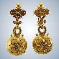 Gorgeous Victorian Etruscan Revival 20k Earrings