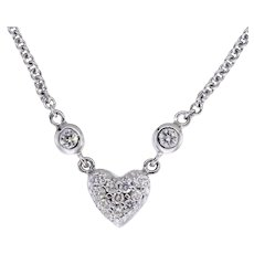Sweet and Sparkly 14kt Diamond Heart Pendant