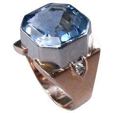 Retro Square Emerald Cut Aquamarine and Diamond Dinner Ring