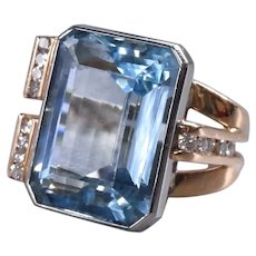 Bold Vintage Aquamarine and Diamond Cocktail Ring