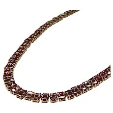 Royal Ruby Collar / Tennis Necklace in 14k Yellow Gold