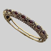 Gorgeous Vintage 14k and Garnet Victorian Revival Bangle