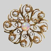 Lovely Victorian Revival 14k Opal and Pearl Starburst Pin/Pendant