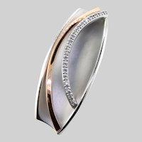 Modernist Style Pavé Diamond 18k White Gold and Rose Gold Pendant
