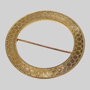 Sleek Circa 1910 14k Gold Circle Brooch