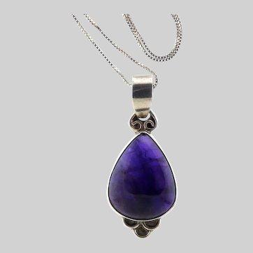 Deep Purple Amethyst and Sterling Pendant